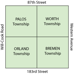 map of the 4 townships that make up the service area of Together We Cope's pantry