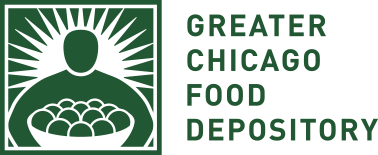 logo of the Greater Chicago Food Depository which provides food for hungry people and strives to end hunger in Cook County, Illinois