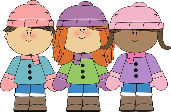 A drawing of three young children in winter attire; facing the viewer, including boots, coats, scarves, hats, and mittens.